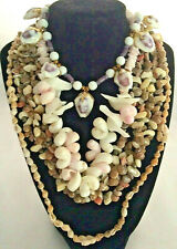 4 shell necklaces cowrie puka Hawaii purple pink white brown beads vintage