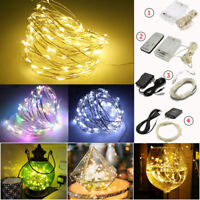 30/50/100 LED String Copper Wire Fairy Light Xmas Wedding Winter Décor Lights US