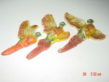 Vintage Set 3 Chalkware Pheasants Dated 1966 Miller Studios Used Alot Sport Bird