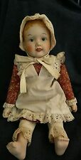 "Sweet Vintage Bisque Porcelain Doll Cloth Body Bonnet Apron 18"" Marked 1977"
