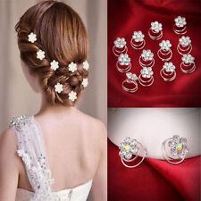 12xÉpingle À Cheveux Argent Strass Cristal Fleur Soirée/Mariage Fantaisie Bijoux