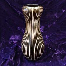 Vintage Wooden Hand Made Black Incised Vase - Large