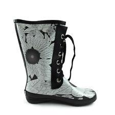 Sporto Women Size 7 Floral Print Lace Up Waterproof Rain Boots White Black
