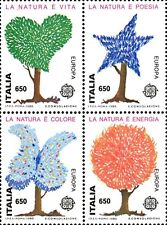 1986 ITALIA EUROPA UNITA NATURA BLOCCO DI 4 UNITO NUOVO ** MNH (C1759