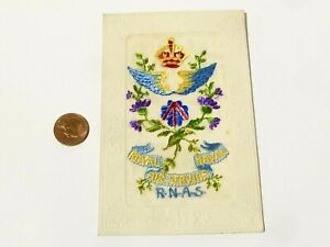 1917 WW1 RNAS Royal Naval Air Service French Embroidered Silk Postcard #SP9