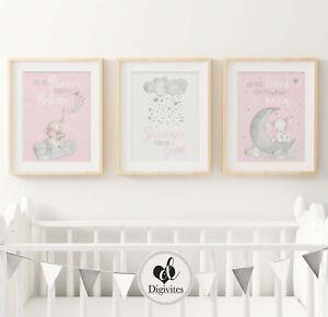 Baby Girl Nursery Wall Art Decor Prints. Elephant, moon clouds, Stars. Set of 3