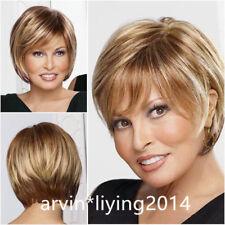 Natural Brown Blonde Mix Straight Short Hair Wigs Short Women's Fashion Wig