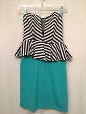 Poof Couture Size Medium Strapless Peplum Stripped White Black Teal Mini Dress