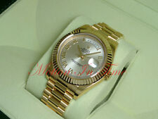 Rolex Day-Date II President Yellow Gold 41mm Fluted Bezel Silver Dial 218238