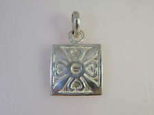 .925 Sterling Silver Square Heart Flower Pendant NEW Geometric 925 PW31