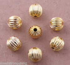 100 pcs Gold plated Corrugated spacer findings loose beads charms 8mm