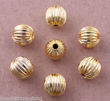 100 pcs Gold plated Corrugated spacer findings beads charms 8mm