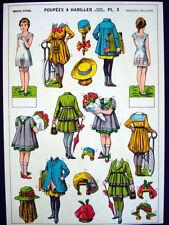 Vintage Imagerie Pellerin Poupees a Habiller Uncut Paper Dolls Plate 3 Inv1387