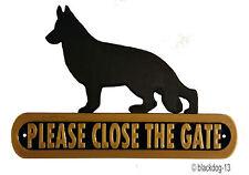 German Shepherd Please Close The Gate Dog Plaque  House Garden Sign - Black/Gold