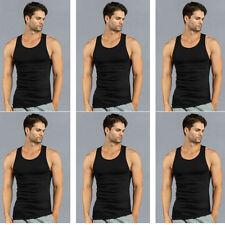 6 PK Mens Black Tank Top 100% Cotton A-Shirt Wife Beater Ribbed Undershirt Pack