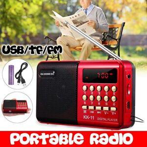 Portable FM Radio Antenna Digital LCD Speaker MP3 Music Player AUX USB TF US