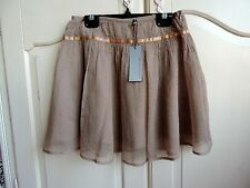 Little Couture girls beige with gold detailings tulle holiday skirt 10A