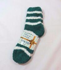Slipper Fuzzy Striped Green Crew Socks White Stripes Womans Size 9-11 SOFT Cozy