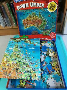 Giant Down Under Australian Map Kids Jigsaw Puzzle 300 Large Pieces Blue Opal