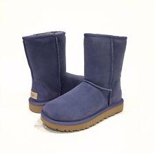 NEW! UGG CLASSIC SHORT II BOOTS BLUE SHEEPSKIN WATER REPELLENT WOMENS US 6 -NIB