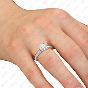 Womens 14K White Gold Solid 925 Silver Solitaire Ring Round 1.CT CZ Center Clear