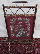 BEAUTIFUL VICTORIAN BAMBOO FIRESCREEN WITH FLORAL GLASS BEAD WORK DECORATION