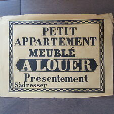 AFFICHE ANCIENNE 1810 PETIT APPART. MEUBLE A LOUER MAISON IMMOBILIER IMPRIMERIE