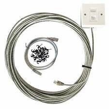 20m Cat5e Cable De Red Interna Kit De Extensión De Ethernet Caja de la placa de cara