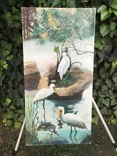 LONGACRE Original *Trio of Heron* MODERN IMPRESSIONIST LANDSCAPE Oil on Canvas