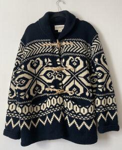 Denim & Supply Ralph Lauren Aztec Tribal Toggle Shawl Cardigan XL Blue Ivory