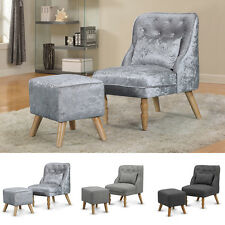 Occasional Bedroom Chair Armchair Silver Crushed Velvet / Grey Fabric & Stool