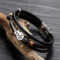 Guitar Bracelet Leather Braided Rope Multi Layer Bangle Punk Jewelry Men Gifts
