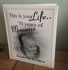Personalised large photo album, this is your life 70th birthday memory present