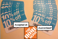 (20x) GUARANTEED 10% Off HOME DEPOT ONLY: Sep '18 Twenty Blue Card Coupons Lowes