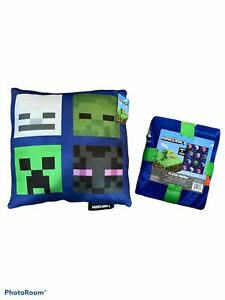 Minecraft Blanket Pillow Set Reversible Creeper Gamer Video Game Decor NEW Blue