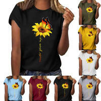 Women Plus Size Sunflower Printed Short Sleeve O-Neck T-shirt Casual Blouse Tops
