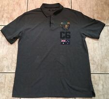 Coogi Grey Polo 3X Rugby Australian Flag Patch  Embroidered Hip Hop EUC
