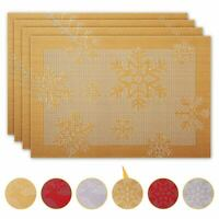 Set of 4 Large Christmas Placemats Dinning Room Jacquard Table GOLD SNOWFLAKES