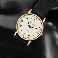 Women Vintage Faux Leather Small Dial Watch Quartz Ladies Slim Wristwatch Black