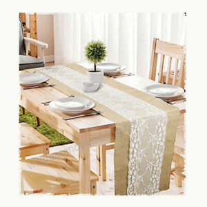 3meter x 30cm Hessian Lace Table Runner Jute Burlap Sewed Edge Wedding Decor