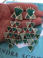 New Kendra Scott Green Flora Drop Post Earrings 14 Gold Plated