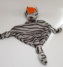 Doudou chat CARRE BLANC gris tigré  noir Mistigri chapeau orange CARREBLANC NEUF