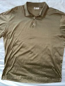 Men's Brioni XL TAN Cotton Short Sleeve Polo Shirt Made In Italy