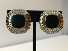 Rhinestone Clip Earrings Scalloped Square Vintage Gold tone Black Enamel