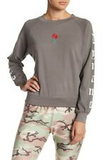 Wildfox Dynamo Embroidered Rose Sweatshirt Top Gray Green Size Large NEW