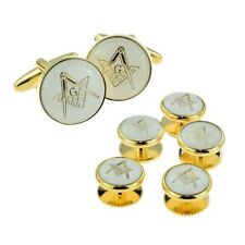 White & Gold Enamelled Masonic Cufflinks with G & 5 Button Stud Set X2Aj315A