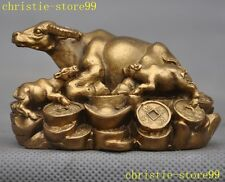 Folk collect China pure brass fengshui coin Yuanbao Zodiac animal Ox Bull statue