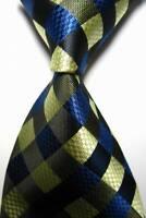 Hot! Classic Checks Blue Beige Black JACQUARD WOVEN 100% Silk Men's Tie Necktie