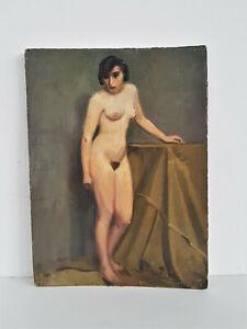 """""""Stehender weiblicher Akt """" signiert M. Gomera datiert 1934 Öl/Kt."""