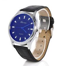 Men`s Quality Silver Beinuo Quartz Blue Dial Date Window Black Band Wrist Watch.